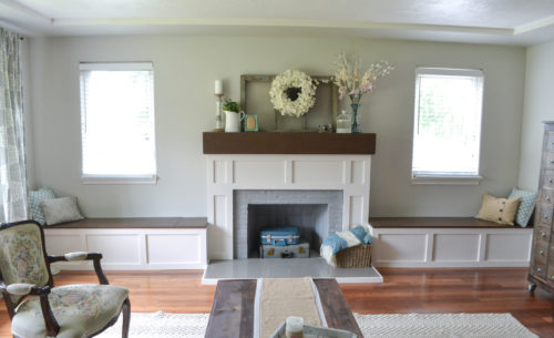 Terrific Fireplace Makeover With Built In Window Seats The Created Home Machost Co Dining Chair Design Ideas Machostcouk