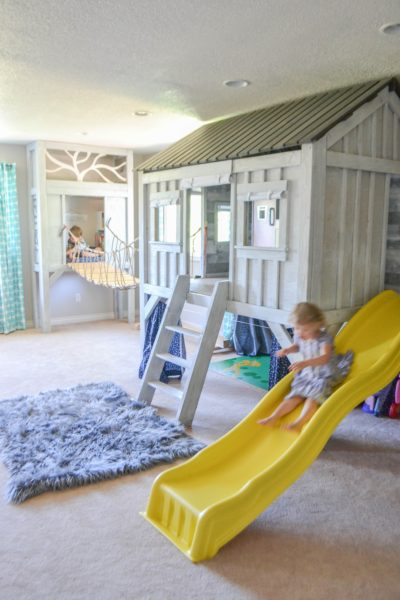 Cabin playroom knock off restoration hardware slide rope bridge reading nook playhouse diy