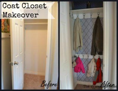 hall coat closet makeover diy