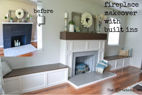 Fireplace makeover with build ins