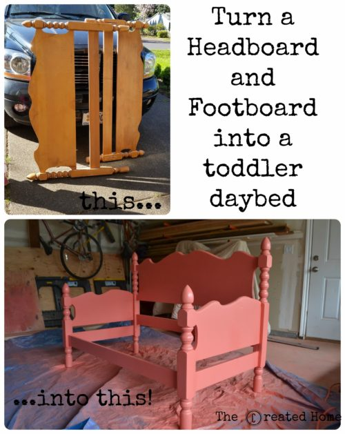 Turn a headboard and footboard into a toddler bed