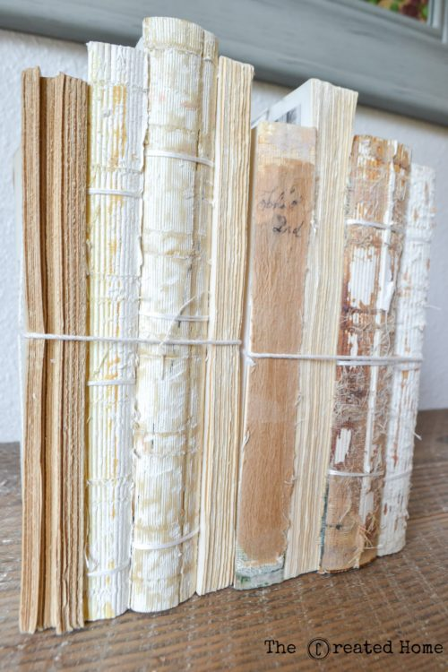 Restoration Hardware knock off diy antiqued uncovered book bundles