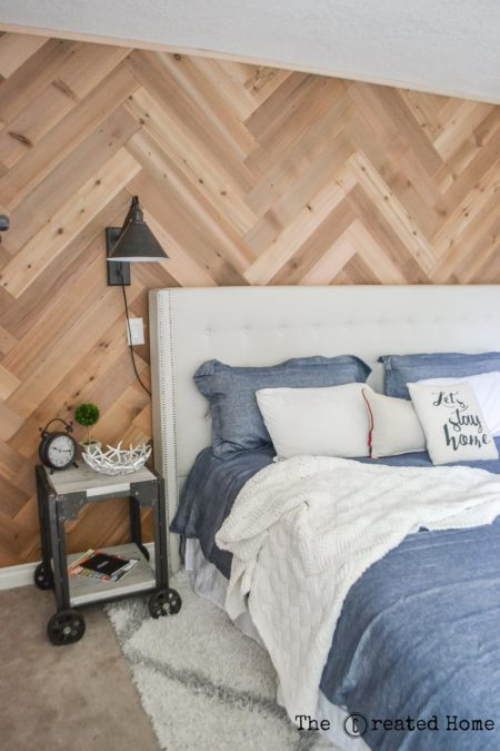 diy herringbone accent wall with reclaimed wood