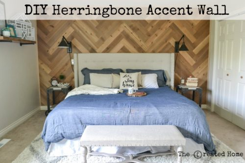 diy herringbone accent wall reclaimed wood