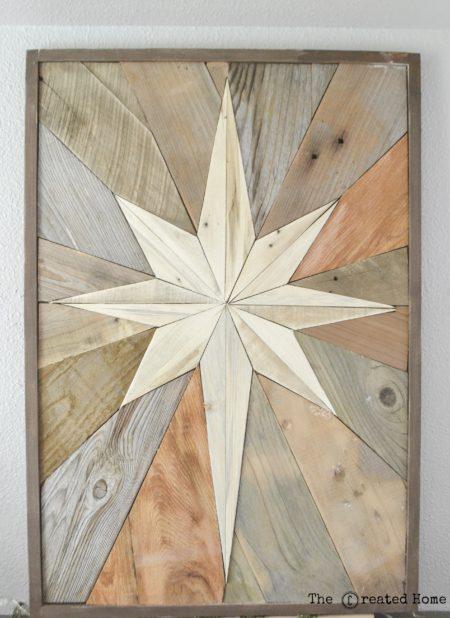 diy wood Christmas star mosaic