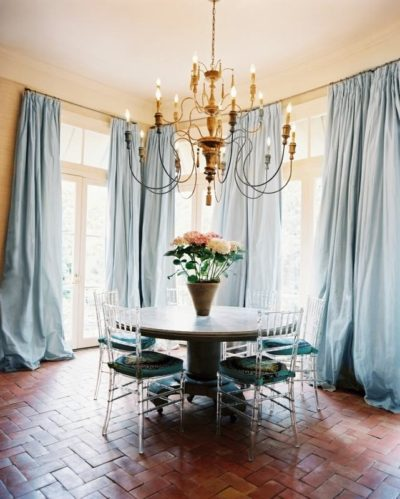 Light Blue Curtains Dining Room