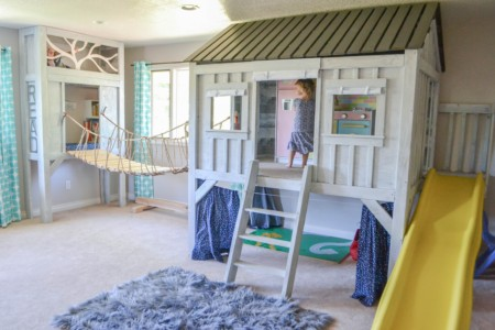 elevated reading nook playroom kids cabin playhouse indoor play