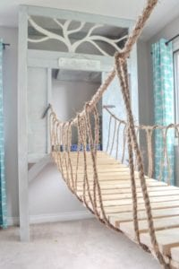 DIY playroom rope bridge