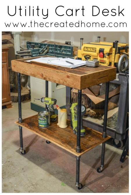 utility cart reclaimed wood mobile desk pipe table workshop garage storage