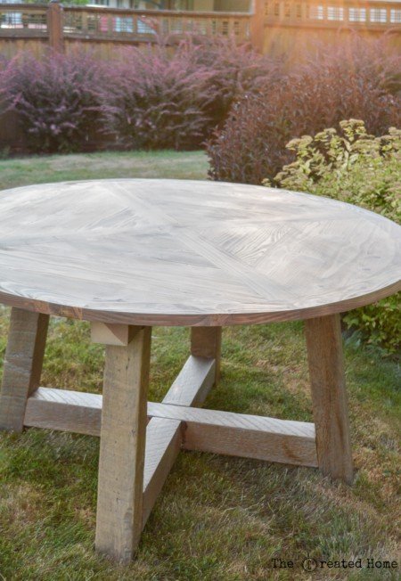DIY round table from salvaged wood beams the created home
