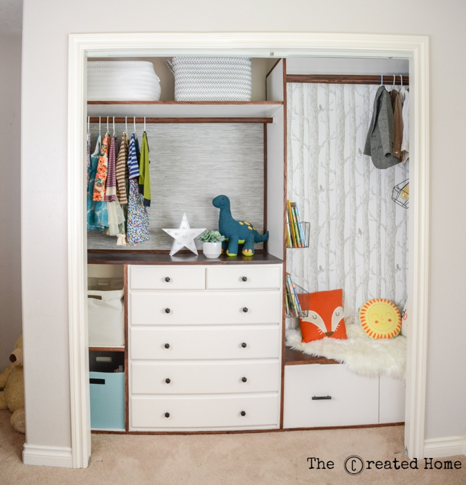 DIY custom kids' closet with reading nook