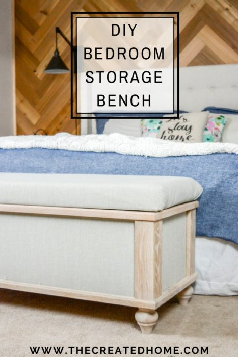 DIY Upholstered Storage Bench - The Created Home