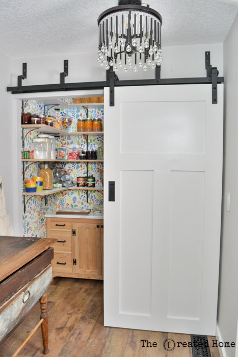 pantry laundry area small walk in farmhouse barn door kitchen renovation