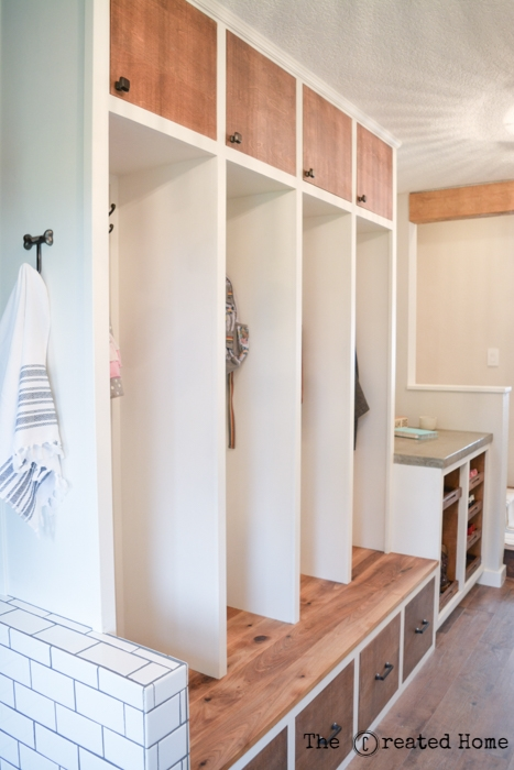 hallway mudroom dog bath renovation diy purebond plywood