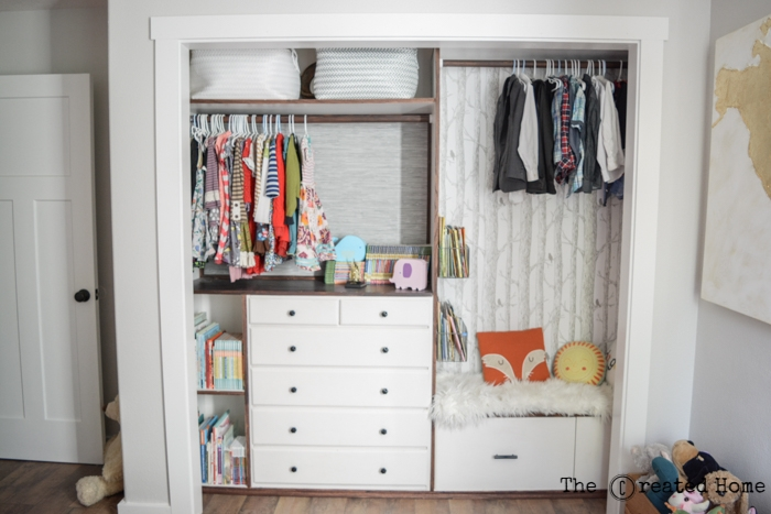 custom kids closet shared boy girl room reveal reading nook