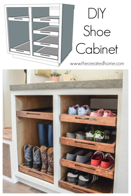 DIY Shoe Storage Cabinet with Trays