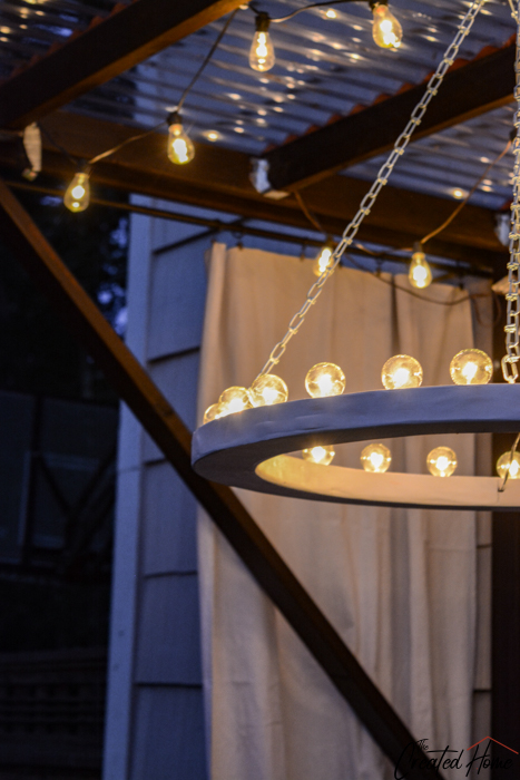 diy outdoor chandelier at night