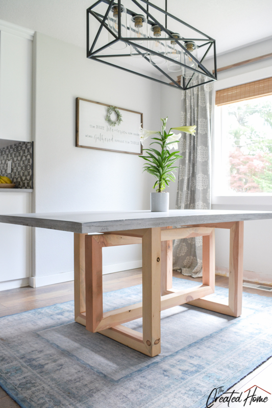 Concrete and Wood Geometric Dining Table