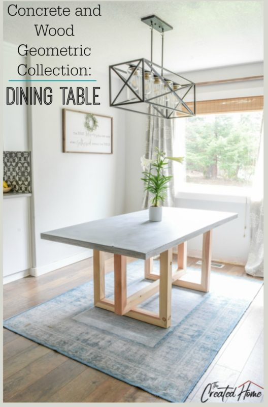 Concrete and Wood Geometric Collection: Dining Table
