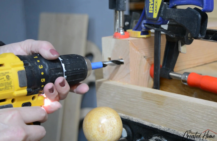 drilling hole for dowel/peg joinery