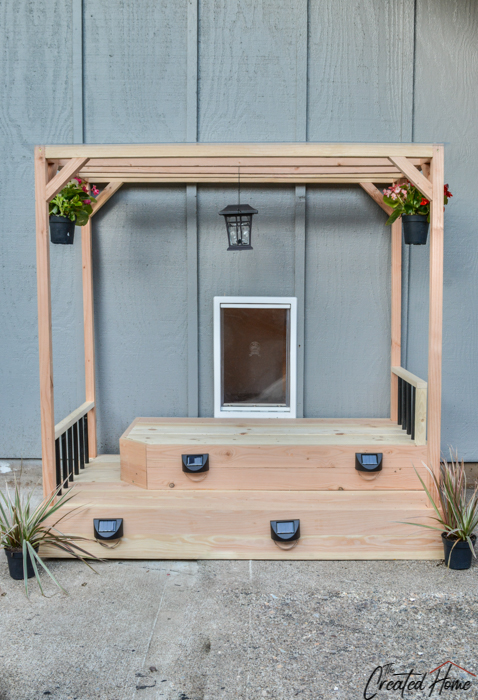 doggie door dog deck with solar lighting