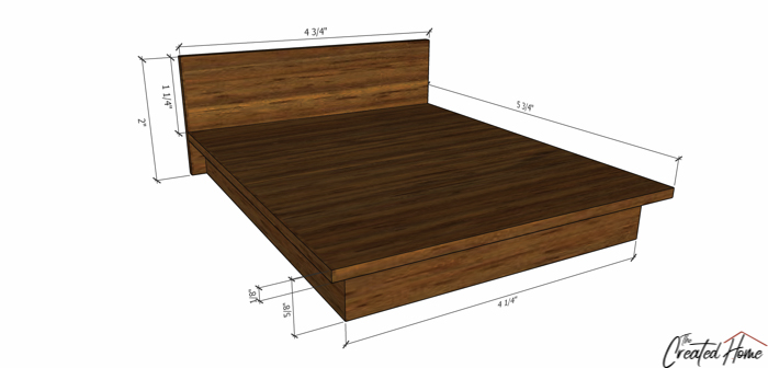 Dollhouse Furniture Platform Bed diagram