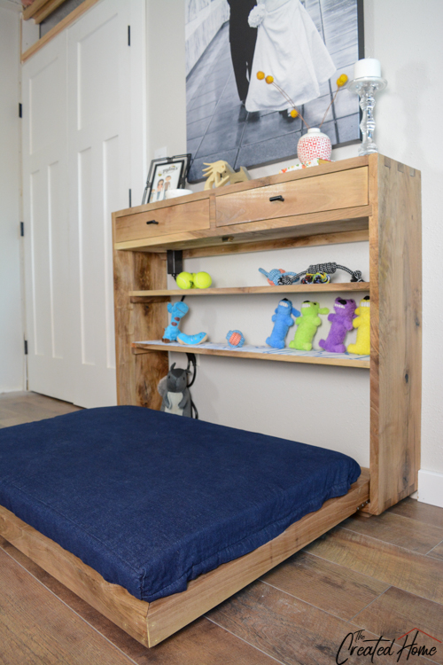 fold down large dog murphy bed with shelving